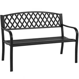 Best Choice Products 50in Steel Garden Bench for Outdoor, Yard, Porch, Patio Furniture Chair for $159