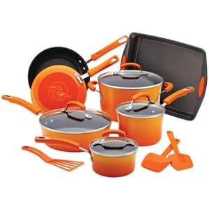 Rachael Ray Brights Nonstick Cookware Pots and Pans Set, 14 Piece, Orange Gradient for $159