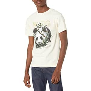 LRG Lifted Research Group Men's Graphic Design Logo T-Shirt, Cream Panda, S for $19