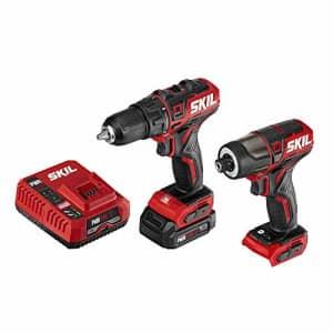"SKIL 2-Tool Drill Combo Kit: Pwrcore 12 Brushless 12V 1/2"" Cordless Drill Driver & Brushless 1/4"" for $98"
