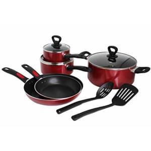 Mirro A796SA Get A Grip Aluminum Nonstick Cookware Set, 10-Piece, Red for $57