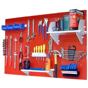 Wall Control 4 ft Metal Pegboard Standard Tool Storage Kit with Red Toolboard and White Accessories for $127