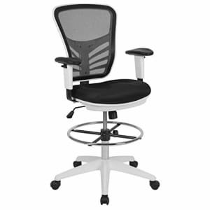 Flash Furniture Mid-Back Black Mesh Ergonomic Drafting Chair with Adjustable Chrome Foot Ring, for $126