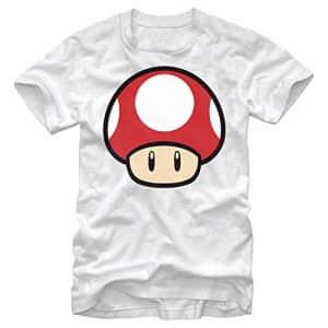 Nintendo Men's Super Mario Mushroom Power-Up T-Shirt, White, Medium for $20