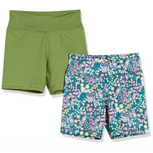 Amazon Essentials Girls' Stretch Active Short, 2-Pack Olive/Floral, Medium for $19