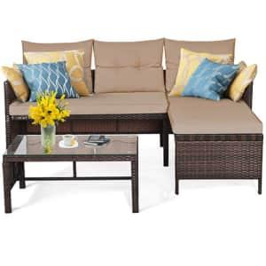 Costway 3-Piece Outdoor Patio Corner Rattan Sofa Set for $250
