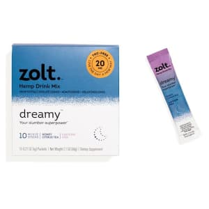 Zolt 20mg CBD Dreamy Honey Citrus Tea 10-Count Stick Pack for $17