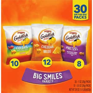 Pepperidge Farm Goldfish Crackers Big Smiles Variety Pack 30-Count Box for $10