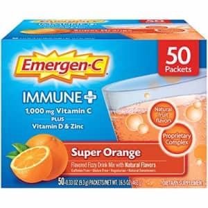 Emergen-C Immune+ Vitamin C 1000mg Powder, Plus Vitamin D And Zinc (50 Count, Super Orange Flavor), for $45