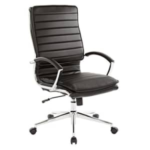 Office Star Faux Leather High Back Managers Chair with Loop Arms and Chrome Base, Black for $333