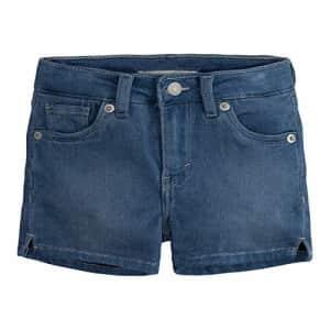 Levi's Girls' Little Super Soft Denim Shorty Shorts, Light Indigo, 6X for $14