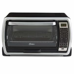 Oster Large Digital Countertop Convection Toaster Oven, 6 Slice, Black/Polished Stainless for $82