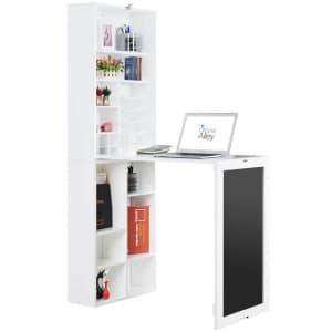 Utopia Alley Fold-Down Wall-Mount Desk w/ Bottom Bookcase & Chalkboard for $190