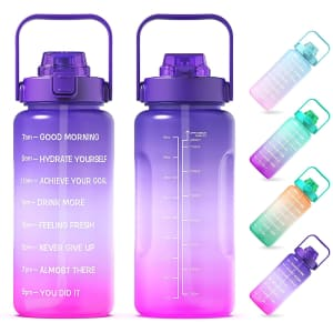 Aibeozo 64-oz. Motivational Water Bottle with Straw for $8