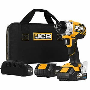 JCB Tools - JCB 20V Cordless Brushless Impact Driver Power Tool - With 2 x 2.0Ah Batteries And for $92