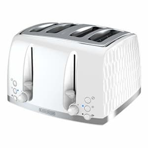 Black + Decker BLACK+DECKER Honeycomb Collection 4-Slice Toaster with Premium Textured Finish, TR1450WD, White for $64