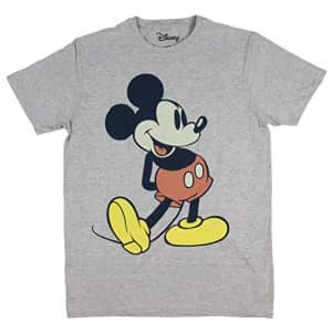 Disney Men's Giant Mickey Mouse Gray Graphic T-Shirt, Charcoal Snow Heather, Medium for $14