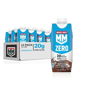 Muscle Milk Zero, 100 Calorie Protein Shake, Chocolate, 20g Protein, 11 Fl Oz, 12 Pack (Packaging for $34