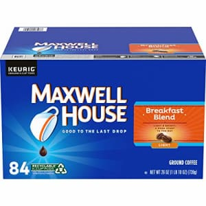 Maxwell House Breakfast Blend Light Roast K-Cup Coffee Pods (84 Pods) for $25
