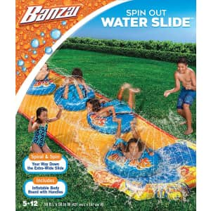 Banzai Spin Out Extra Wide Inflatable Outdoor Water Slide for $10