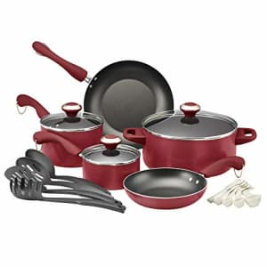 Paula Deen Signature Dishwasher Safe Nonstick Cookware Pots and Pans Set, 17 Piece, Red for $60