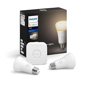 Philips Hue 2-Pack White A19 Dimmable Smart Bulb Starter Kit with Hub (Voice Compatible with Amazon for $60