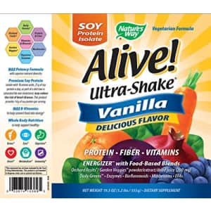 Nature's Way Natures Way Alive! Ultra Shake Energizer, Soy Protein Isolate, Vanilla Flavored, 1.2 Lbs for $35