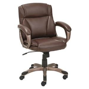 Alera ALE Veon Series Low-Back Leather Task Chair w/Coil Spring Cushion, Brown for $173