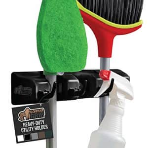 Gorilla Grip Mop and Broom Holder, Easy Install Wall Mount Storage Rack, Organize Cleaning for $10