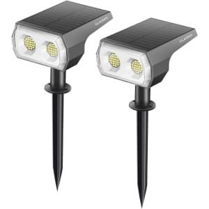 Claoner LED Solar Landscape Spotlights for $15