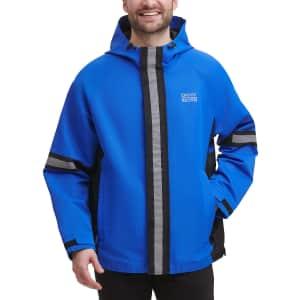 DKNY Men's Tech Regular-Fit Colorblocked Hooded Rain Jacket for $50