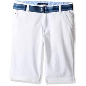 Tommy Hilfiger Big Boys Dagger Stretch Twill Short, White, 10 for $18