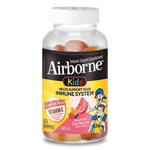 Vitamin C 500mg - Airborne Kids Assorted Fruit Flavored Gummies (63 count in a bottle), Gluten-Free for $18