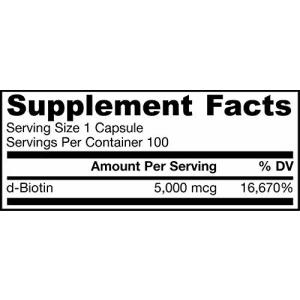 Jarrow Formulas Biotin, Energy Production, Skin and Hair Support, 5000mcg, 100 Veggie Caps for $17
