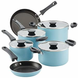 Farberware Neat Nest Space Saving Nonstick Cookware Pots and Pans Set/Dishwasher Safe, Made in The for $110