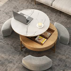 Homary Round Lift-Top Coffee Table with Storage for $550