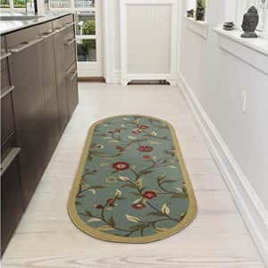 Ottomanson Home Collection Modern Area Rug, 2' X 5' Oval, Sage Green Floral for $21