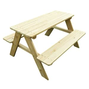 Merry Garden Kids Wooden Picnic Bench Outdoor Patio Dining Table, Natural for $69
