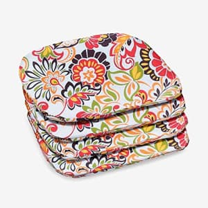 BrylaneHome Set of 4 Stacking Chair Pads Patio Cushion, Floral Sunshine for $58