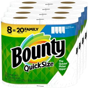 Bounty Quick-Size Paper Towels Family Roll 8-Pack for $16