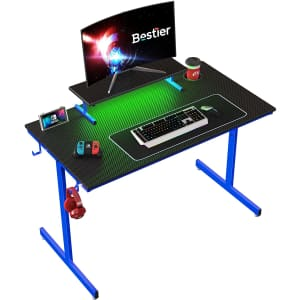 """Bestier 44"""" Gaming Computer Desk with LED Lighting for $60"""