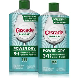 Cascade Power Dry Dishwasher Rinse Aid 16-oz. Bottle 2-Pack for $8