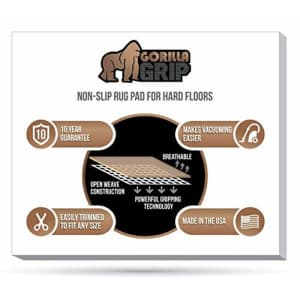 Gorilla Grip Original Area Rug Gripper Pad, 5x8 FT, Made in USA, Extra Thick Pads for Hardwood for $18