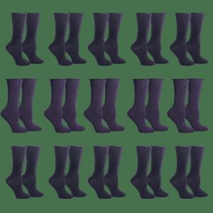 Unisex Roll Top Crew Socks 15-Pack for $9