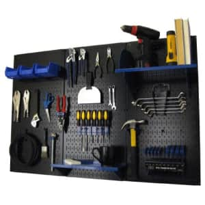 Pegboard Organizer Wall Control 4 ft. Metal Pegboard Standard Tool Storage Kit with Black Toolboard for $133