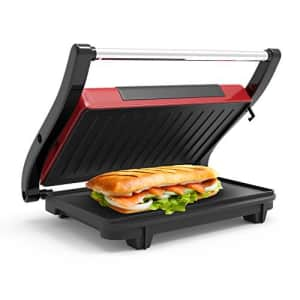 Panini Press Indoor Grill and Gourmet Sandwich Maker With Nonstick Plates (Red) by Chef Buddy for $37