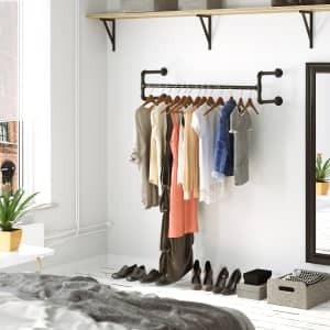 """Coastal Farmhouse Holms 43"""" Wall-Mounted Clothes Rack for $47"""