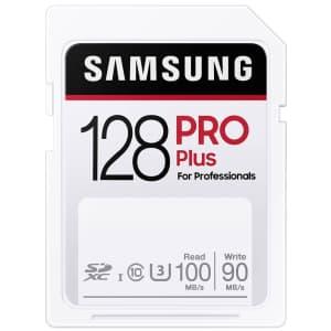 Samsung Pro Plus 128GB Class 10 U3 SDXC Card for $17