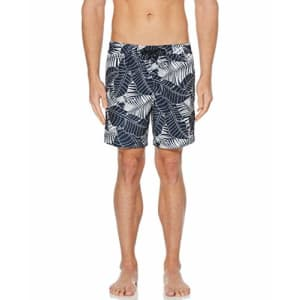 Perry Ellis Men's Printed Water Resistant Swim Shorts, Medieval Blue-4ESH1913, Extra Large for $29