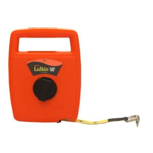 "Crescent Lufkin 1/2"" x 50' Hi-Viz Orange Linear Engineer's Fiberglass Tape Measure - 703D for $16"